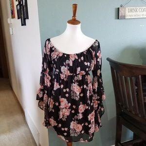 Cotton Candy Black Chiffon Babydoll Peasant Dress